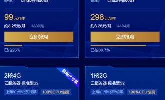 腾讯云服务器报价:1核2G1M99元,2核4G3M546元